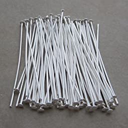 200 Silver Plated Headpins 1.5 Inch 21 Gauge