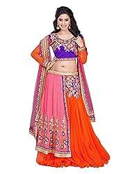 Khodiyar Creation Women's Net Lehenga Saree (Orange)