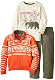 Little Rebels Baby-Boys Infant 3 Piece Sweater Set with Screenprint, Red, 12 Months