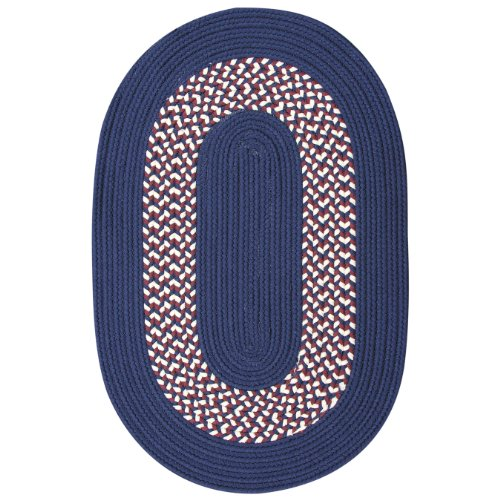 ITM Patriotic Collection Indoor/Outdoor Braided Rug, 42-Inch by 66-Inch, Blue Band