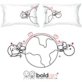 "BOLDLOFT® ""Love Has No Distance"" His and Hers Couple Pillowcases-Long Distance Relationships Gifts,Romantic Valentine's Day Gifts for Couples,Christmas Gifts for Him or Her,Romantic Anniversary Gifts"