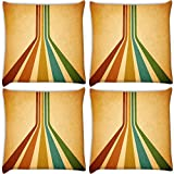 Snoogg Retro Stripes Pack Of 4 Digitally Printed Cushion Cover Pillows 18 X 18 Inch