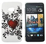 Kit Me Out UK Hard Clip-on Case + Screen Protector with MicroFibre Cleaning Cloth for HTC One M7 - Tattoo Heart