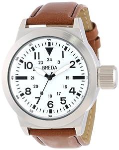 Breda Men's 1638-silver/brown Leo Screw-Cap Crown Oversized Watch