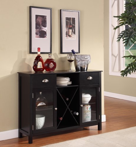 King's Brand WR1242 Wood Wine Rack Console Sideboard