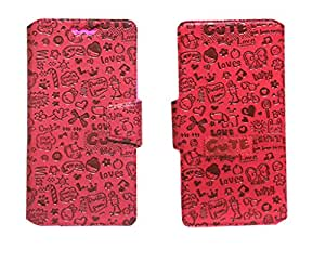 J Cover Taddy Series Leather Pouch Flip Case With Silicon Holder For ZTE Geek V975 Red