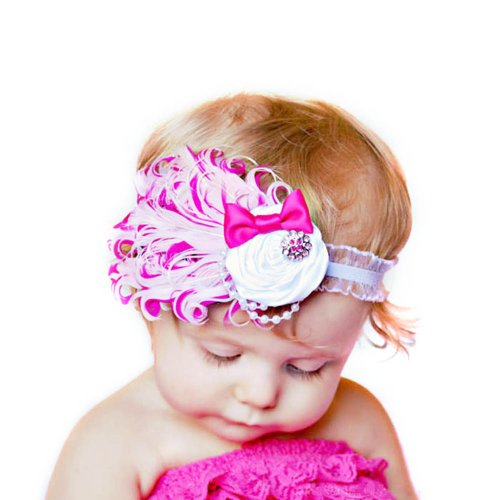 Suppion New Bowknot Unusal Cotton Girls Baby Feather Hairband Headband Flower