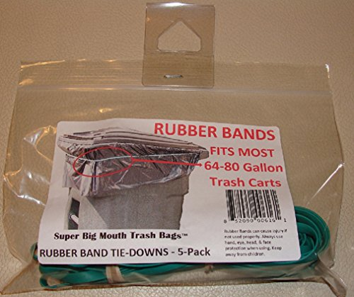 Super Big Mouth Trash Bags Rubber Bands 5-Pack Fits 64 - 80 Gallon Cans / Carts (Rubber Band Trash Can compare prices)