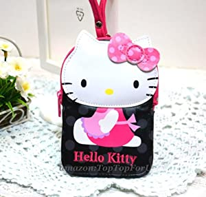 Authentic Hello Kitty Faux Leather Coin Purse Key Ring Credit ID Card Holder Pass Case w/ Hand Strap