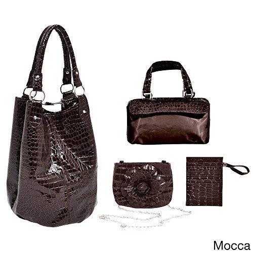Parinda-Adria-Croco-Faux-Leather-Mocca-Large-Tote-Set-4-Parts