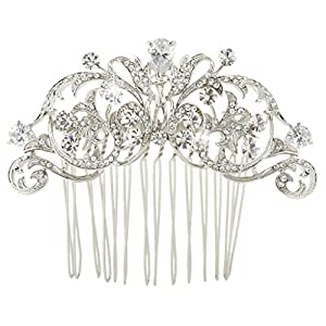 Ever Faith Wedding Royal Flower Hair Comb Clear Cubic Zirconia Crystal Silver-Tone N03796-1