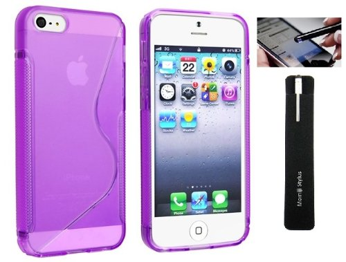 Apple Iphone 5, 5S Tpu Protective Skin Cover Case With Screen Protector And Momiji® Stylus Pen (Purple)