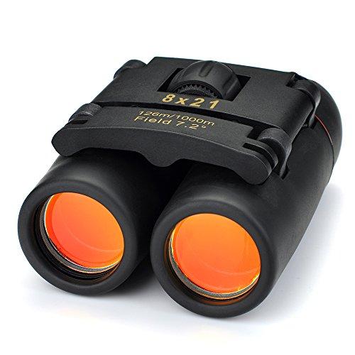 Patuoxun 8 x 21 et légère pliante Binocular Jumelle Zoom avec un Chiffon Propre et la Boîte pour Voyage, Randonnée, Escalade, Observations des oiseaux