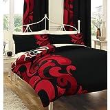 Grandeur Duvet Set Colour: Black/Red, Size: Double