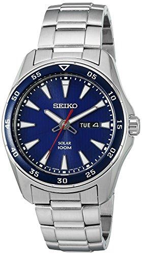 Seiko Men's SNE391 Solar Analog Display Japanese Quartz Silver Watch (Seiko Watches Blue Dial compare prices)