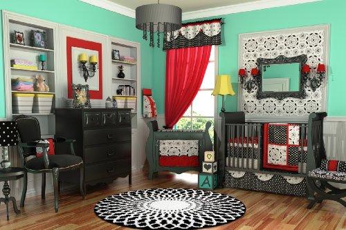 DK Leigh Designer Crib Bedding Set, Red/Black/White