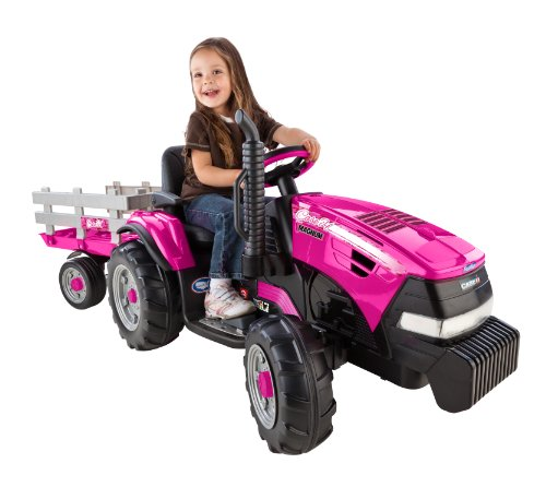 Peg Perego Case Ih Magnum Tractor Ride On With Trailer, Pink front-1005110