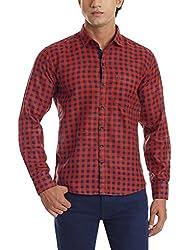 Dennison Men's Casual Shirt (SS-16-421_42_Orange)