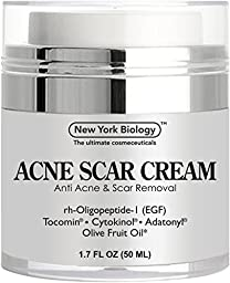 Acne Scar Cream from New York Biology - EGF Anti Acne Cream Helps Get Rid of Acne Scars while Hydrating & Regenerating Skin - 1.7 fl oz