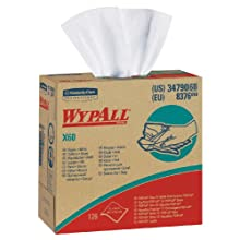 "Kimberly-Clark WypAll 34790 Disposable X60 Wiper, 9.1"" Width x 16.8"" Length, White (10 Boxes of 126)"