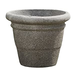 Alfresco Home 39-7922 Medium Rolled Rim Planter, Pietra