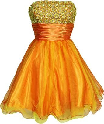 Beaded Sequin Mesh Party Mini Dress Prom Holiday, Small, Orange