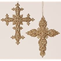 24 Gold Glitter Raised Filigree Scroll Religious Cross Christmas Ornaments 5.5