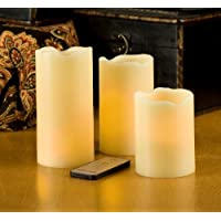Lilys Home Ivory Pillar Flameless Candles With Remote Control, Set Of 3