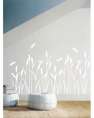 Ambiance Live Vinilo Decorativo Reed Flowers Blanco