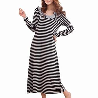 TOPTIE Long Sleeve Stripe Cotton Long Robe Bow & Rosette Trim, Black