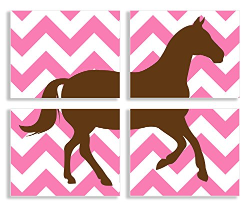 The Kids Room by Stupell Brown Horse Silouhette on Pink Chevron 4-Pc Rectangle Wall Plaque Set