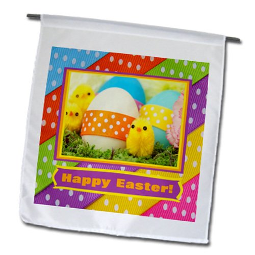 Fl_174071_1 Beverly Turner Easter Design And Photography - Soft Yellow Chicks With Eggs And Dotted Ribbon, Happy Easter - Flags - 12 X 18 Inch Garden Flag front-284821