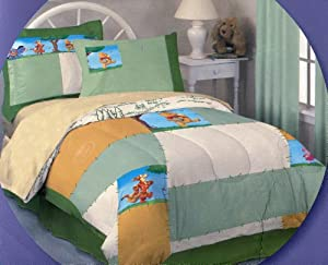 7pcs Winnie the Pooh Full Size Comforter and Sheet Set ~ 100% Cotton Jersey Knit Bed in a Bag