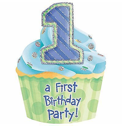attractive-jumbo-die-cut-cupcake-1st-birthday-invitations-cards-and-envelopes-pack-of-8-blue-by-amsc