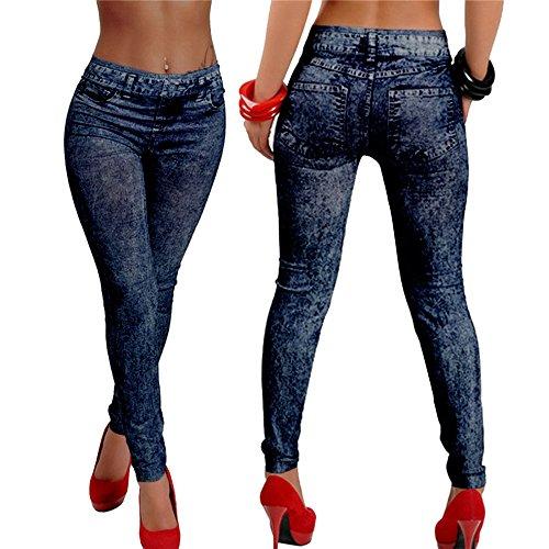 Hjuns-Jeans Skinny Jeggings da donna, Slim-Leggings elasticizzati Skinny Pants blu Taglia unica