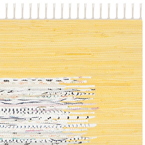 Safavieh Montauk Collection MTK711Q Hand Woven Ivory and Yellow Cotton Area Rug, 3 feet by 5 feet (3' x 5')