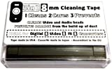 3in1 8mm Cleaning Tape for Video 8, Hi8 and Digital8 Camcorders