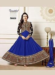 Fabboom Womens Georgette Anarkali Dress Material (Fba556-50009 _Blue _Free Size)