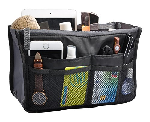 Travel Organizer Bag Multi-pocket Insert Handbag Purse Tidy Bags For Multipurpose Black (Purse Organizer Insert compare prices)