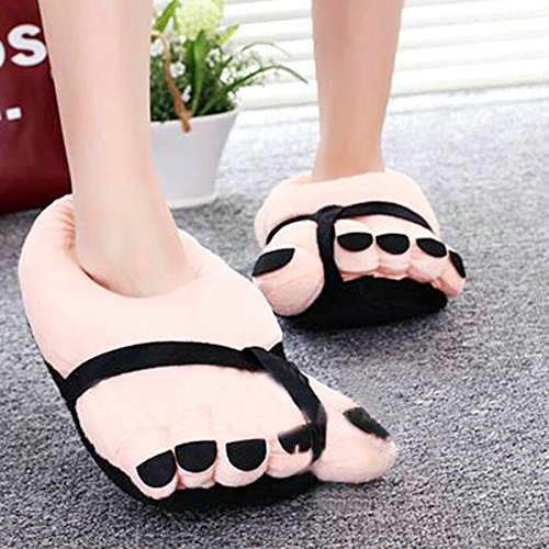 Pantofole di peluche a forma di grande piede, misura da adulto, unisex, colore: Nero