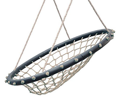 SWINGING-MONKEY-PRODUCTS-Hammock-Lounge-Chair-32-Spider-Web-Swing-Light-Brown-Porch-Swing-Great-for-Adults-Nylon-Rope-with-Padded-Steel-Frame-Tree-Swing-Childrens-Swing-Easy-Installation
