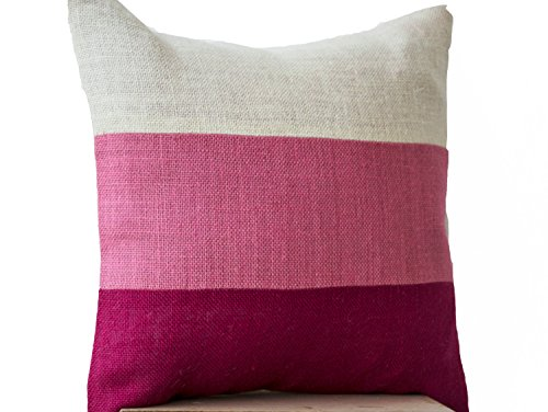Decorative Pillow Case - Burlap Throw Pillow Cover- Pink Pillow Covers-Color Block Pillow Cover - Gift-Accent Pillows (24