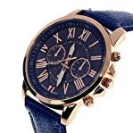 Coromose Geneva Roman Numerals Faux Leather Analog Quartz Women Wrist Watch(Dark Blue)
