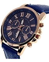 Coromose Geneva Roman Numerals Faux Leather Analog Quartz Women Wrist Watch(Dark Blue)