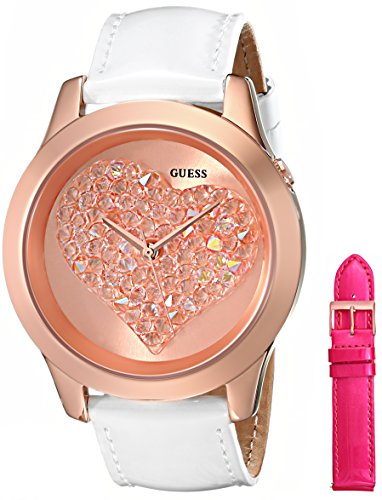 GUESS GUESS Women's U0528L1 Interchangeable Wardrobe Rose Gold-Tone Heart Watch Set with Genuine Leather Straps in White & Pink