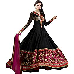 Shree Ashapura Creation Women`s Georgette Embroidered Semi-stitched Salwar Suit Dupatta Material(Royal Black Anarkali)