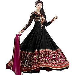 Prachi Silk Mills Women`s Georgette Embroidered Semi-stitched Salwar Suit Dupatta Material(Royal Black Anarkali)