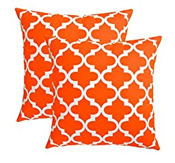 TreeWool, Cotton Canvas Trellis Accent Decorative Throw Pillowcases (Pack of 2 Cushion Covers; 18 x 18 Inches; California Orange & White)
