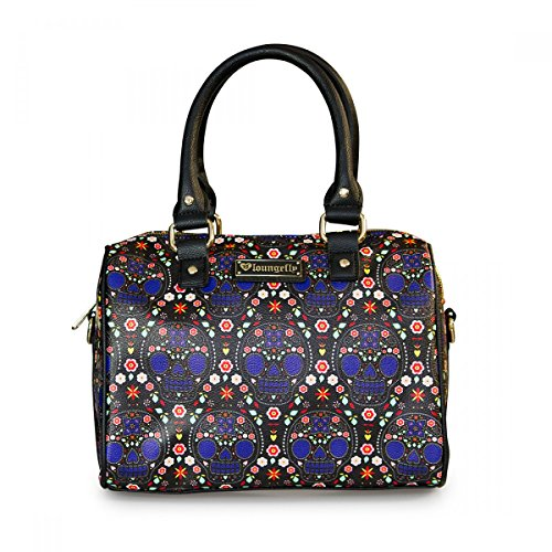 loungefly-damen-tasche-bowler-handtasche-aus-kunstleder-blue-sugar-skull-pebble-duffle-henkeltasche