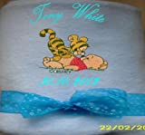 Personalised embroidered baby boy blanket with a baby tigger on baby pooh name and dob